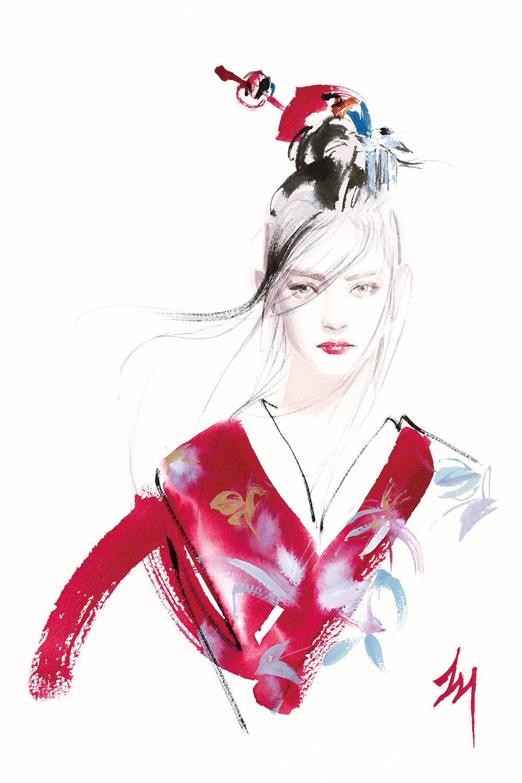 lizard, art, fashion, illustration, KIMONO