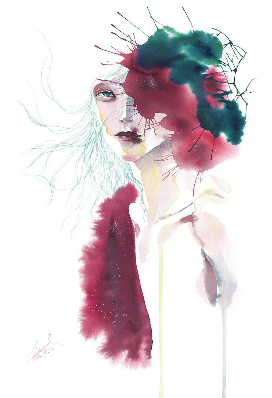 lizard, art, fashion, illustration, Rosa, Multiflora